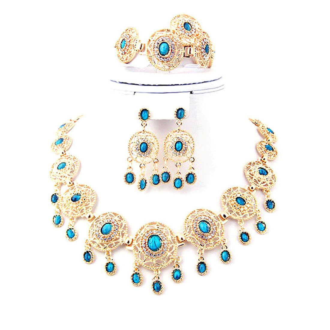 Hot Sale Ethnic Blue Stone Jewelry Sets with Solid Gold Plating Red and Black Rhinestone Necklace Earrings for Women