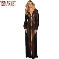 YSMARKET New 2017 Summer Woman Vintage Dresses Sexy Clubwear Sheer Long Sleeve Lace Robes For Women