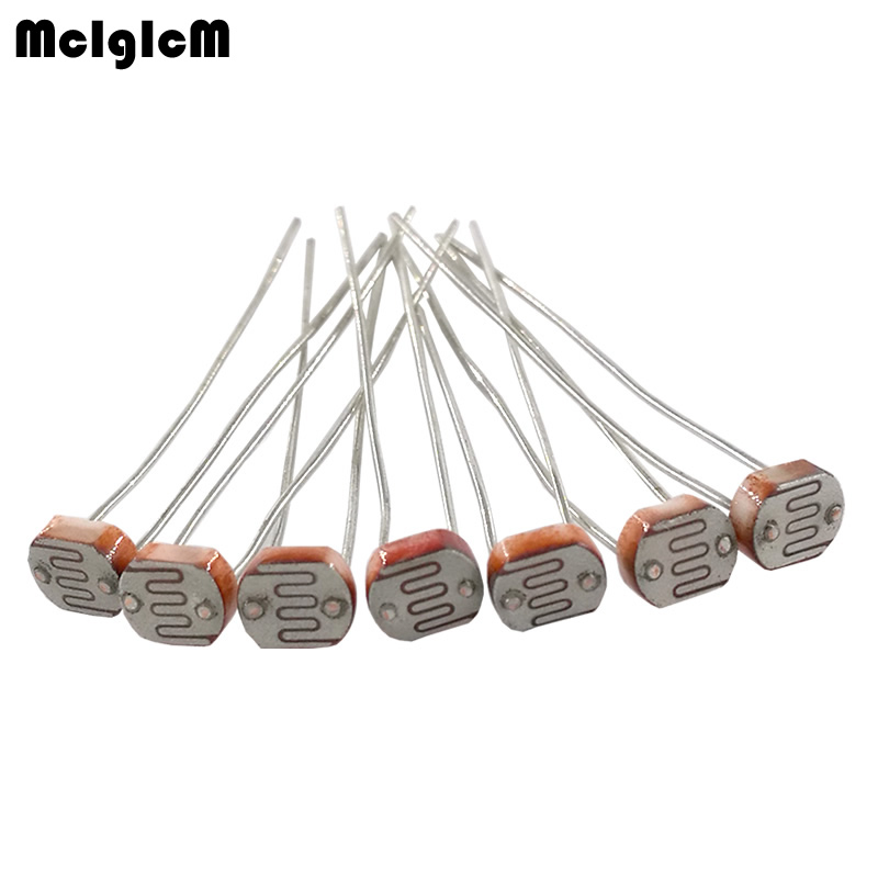 MCIGICM 50pcs 5516 5537 5528 5549 5539 Light Dependent Photo Resistor Photoresistor Resistor 5mm Photosensitive Resistance LDR