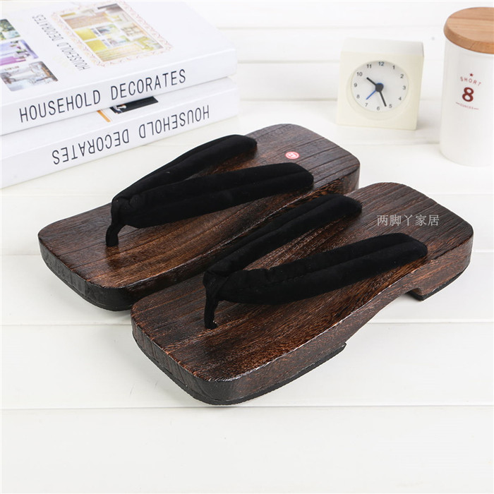 Mazefeng Sandals Men Shoes Geta-Clogs Flip-Flops Wood Chinese Unisex Classial Print title=