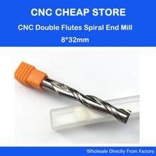 1 unid 8*32mm Herramientas de Carburo DEL CNC Fresas 2 Doble Dos Flauta Espiral Mordió Enrutador Molino de Extremo CED 8mm CEL 32mm