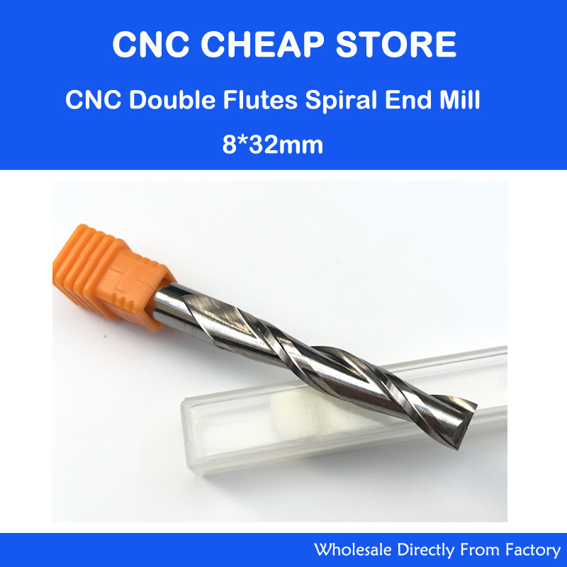 1pc 8*32mm Carbide CNC Milling Cutters Tools 2 Double Two Flute Spiral Bit Router End Mill CED 8mm CEL 32mm