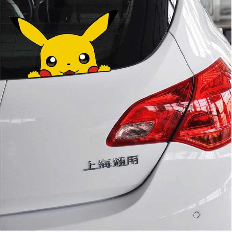 Car sticker Cute Pikachu pokemon figures Peeping Sticker Lovely Styling Car Accessories Motorcycle Sticker Pokemon Series Decals