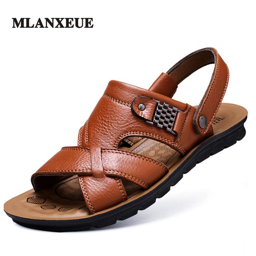 MLANXEUE Genuine Leather Massage Soft Bottom Men Sandals Comfortable Breathable Flat Outdoor Non-Slip Slippers Men Shoes men s slippers beach sea leisure shoes non slip bottom of the massage indoor and outdoor take a shower sandals hot selling