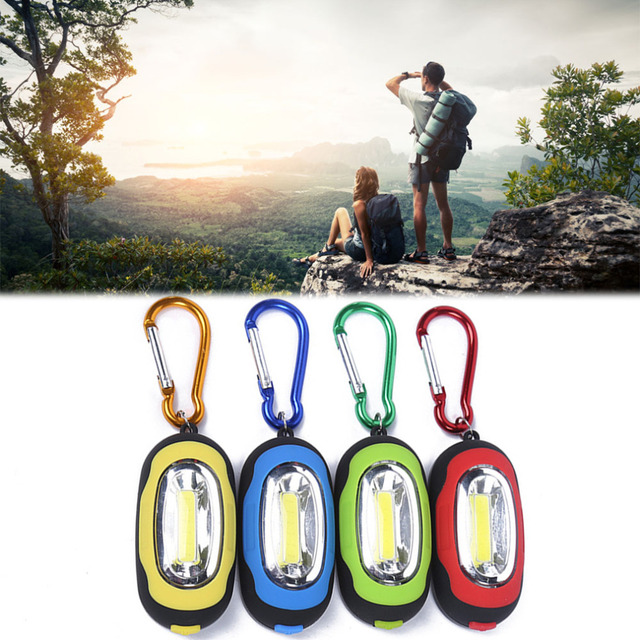 Portable Mini Magnetic Small Key Chain mini Flashlight COB Super Brightness with Carabiner Flashing Light free shipping