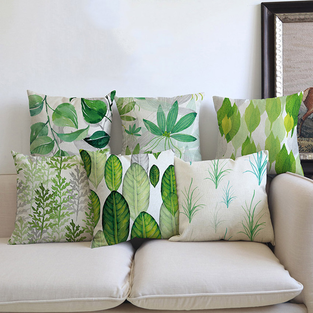 Green Plants Leaves Print Throw Pillow Cover Outdoor Decorative