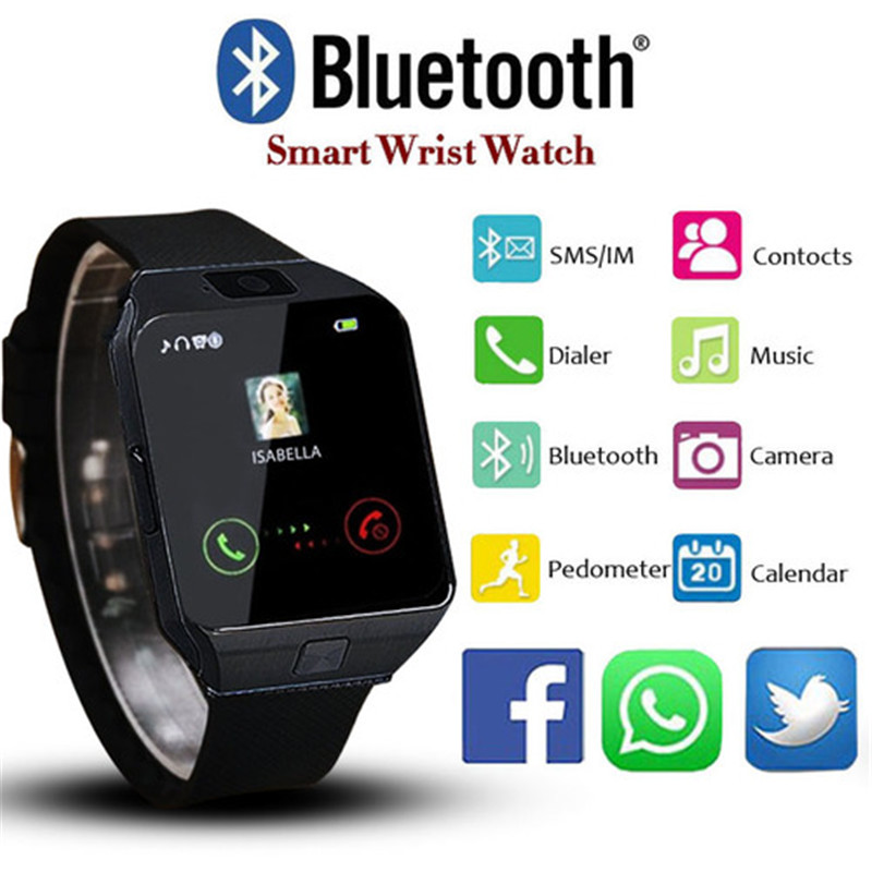 Electronic Intelligent DZ09 <font><b>Smart</b></font> Sport Facebook Pedometer Smartwatches LED For <font><b>Men</b></font> Women Unisex Design Bluetooth Orologio Uomo image