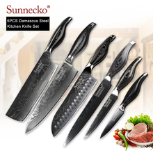 SUNNECKO Utility Chef Santoku Slicing Paring Knife Damascus VG10 Steel Sharp Blade Pakka Wood Handle 6PCS Kitchen Knives Set
