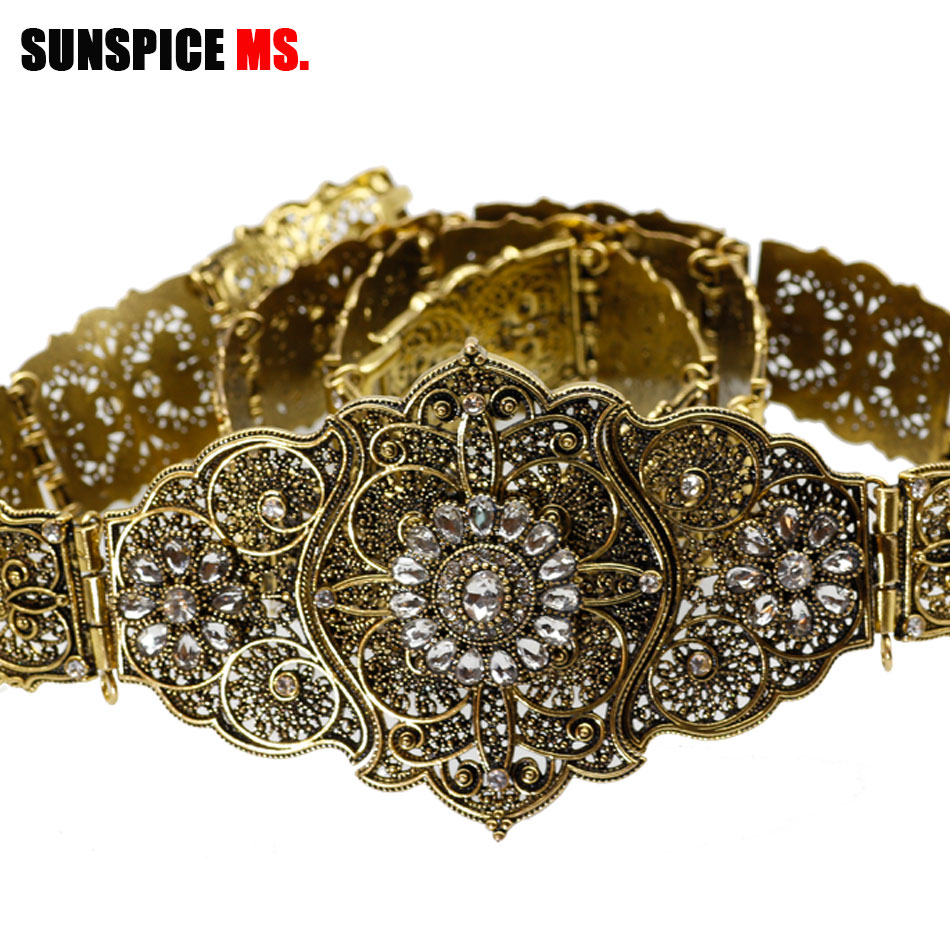 SUNSPICE Vintage Metal Wedding Belt For Women Rhinestone Bridal Dress Sash Adjust Length Waist Chain Antique Gold Color Jewelry