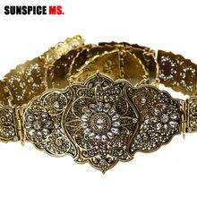 SUNSPICE ceinture de mariage en métal Vintage pour femmes avec strass, ceinture ajustable à la taille, chaîne Antique couleur or, bijoux
