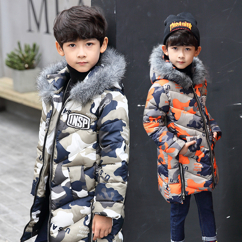 Boys Parkas Coat hooded  camouflage padded cotton jacket winter clothing baby boy long section warm fur collar coat 5-12 year bjcjwf 2017 winter jacket women wadded long parkas female outerwear hooded coat cotton padded fur collar parka thicken warm 1pc