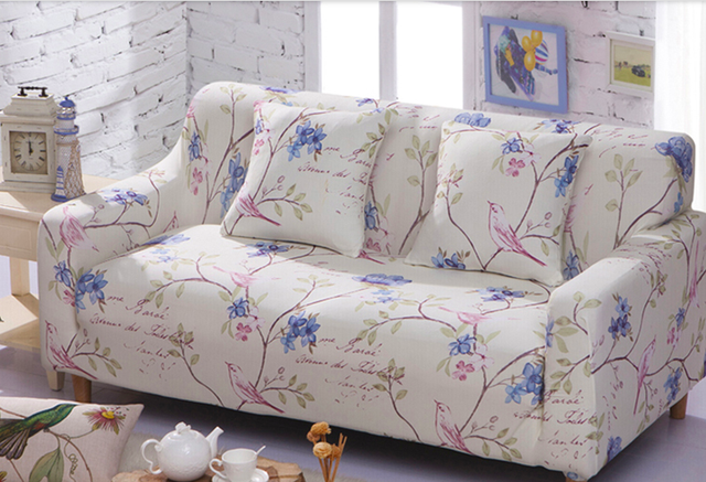 Spandex Stretch Blue Flower Pattern Sofa Cover Elasticity 100 Polyester Furniture