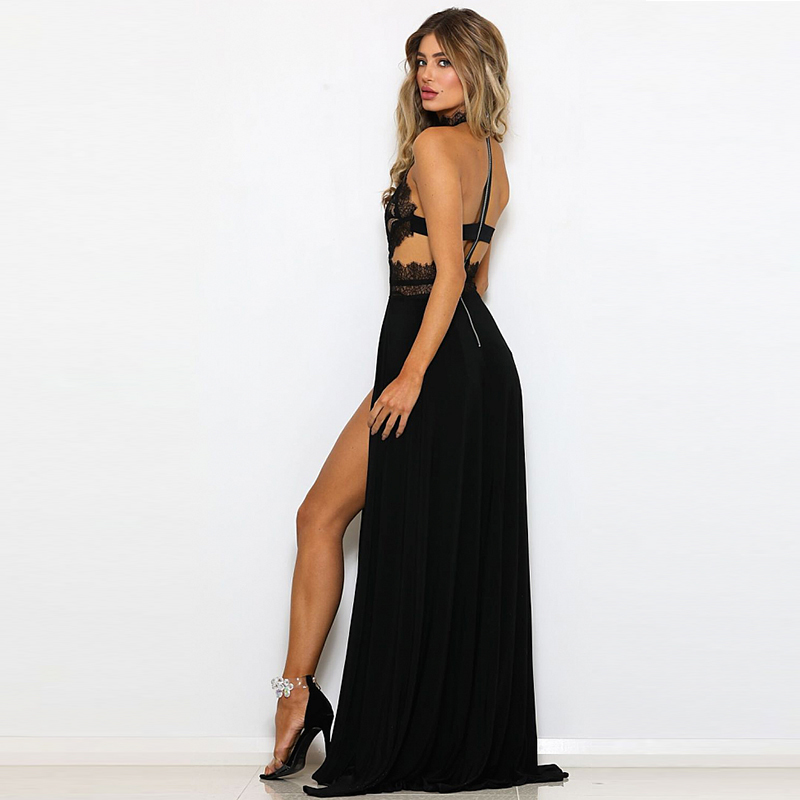 9892bc6029 NATTEMAID Black Red Long Maxi Party Dress Sexy Split Hollow Out Lace Dress  Summer 2018 Backless Elegant Vestidos Female Casual-in Dresses from Women's  ...