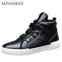 MIVNSKVE Mannen Schoenen Mode Zwarte Mannen Casual Schoenen PU Leer mannelijke Casual Schoenen Luxe Merk mannen Sneakers Hoge Top Mannen Flats