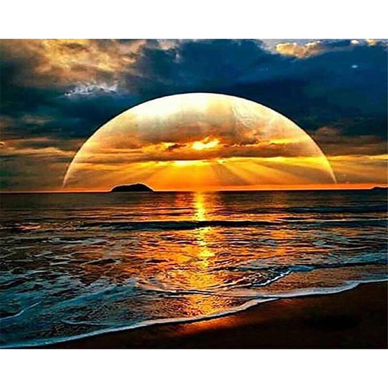غروب الشمس شاطئ البحر موجة مشهد DIY بها بنفسك الرقمية الطلاء بواسطة أرقام الحديثة الرسم على لوحات القماش الجدارية هدية فريدة ديكور المنزل 40x50 سنتيمتر
