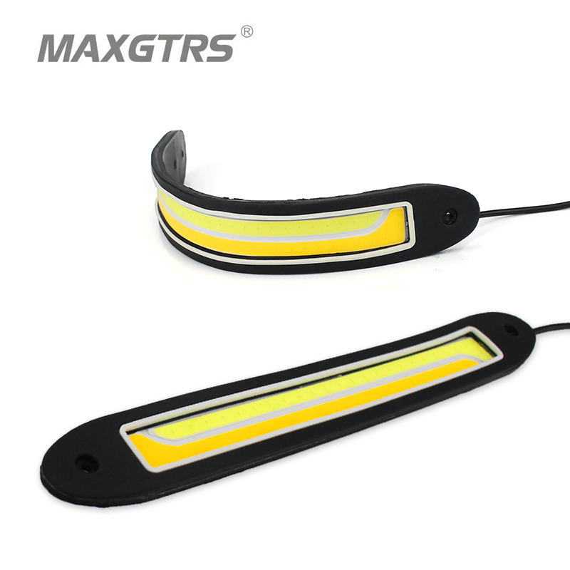2x Flexible Car DRL Daytime Running Lights + Turning Lights LED COB Day Light DRL White Amber Turning Steering Signal Lamps