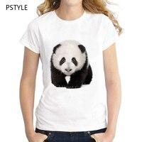 Oringinal PSTYLE Giant Panda T Shirt Womens Casual Summer Short Sleeve T Shirts Female Modal White