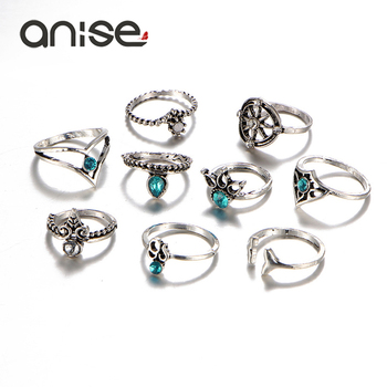 Blue Crystal Vintage Totem Womens Ring Set