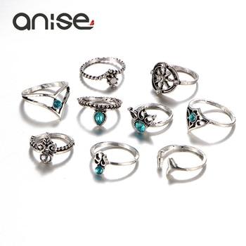 Blue Crystal Vintage Totem Womens Ring Set