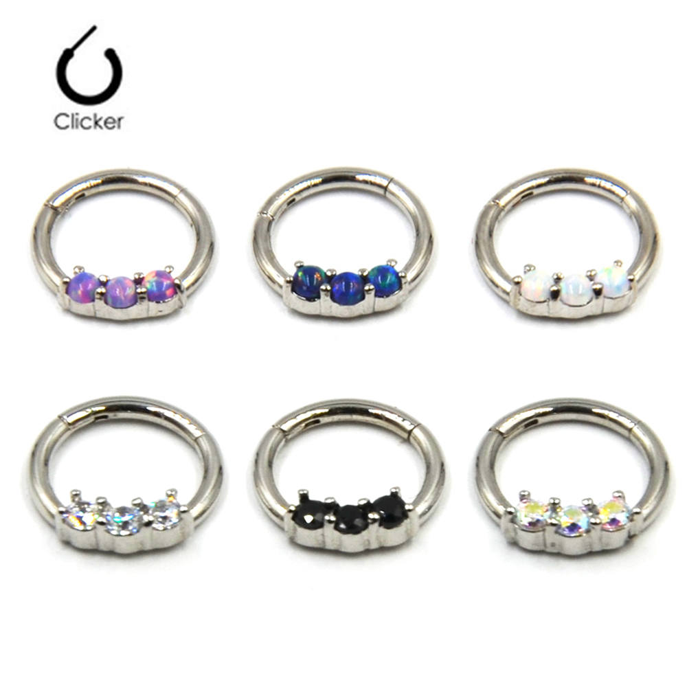 Opal CZ Pierced Septum Ring Piercing Septo Nose Clicker Ring 16g Body Jewelry