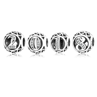 925 Sterling Silver 2015~2019 number Charms Beads Fits Original Pandora Charms Bracelet Pendants Jewelry Making Personality Gift