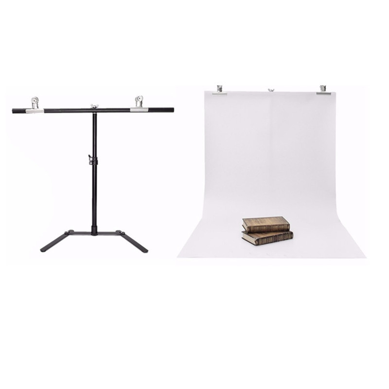Adjustable Photography Support Stand + White PVC Backdrop Background + 2 Clips Set High-strength aluminum detachable max width 152cm x 200cm height photography big pvc backdrop background support stand system metal