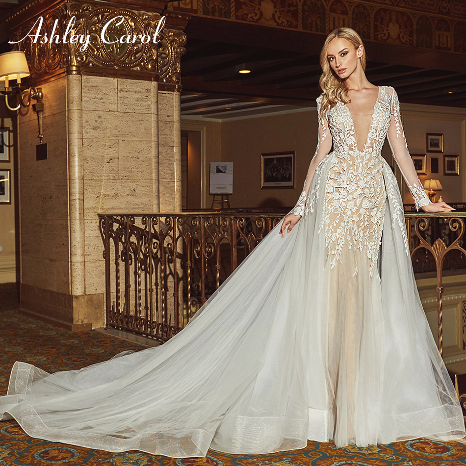 Ashley Carol Sexy Deep V-neckline Backless Mermaid Wedding Dress 2019 Long Sleeve Luxury Detachable Train Romantic Wedding Gowns