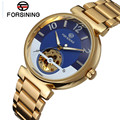 2017 Forsining Luxury Watch Men's Gold Blue Dial Skull Horloge Auto Mechanical Wrist Watch Best Gift Free Ship