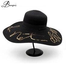 280f1112bff Summer Women Wide Big Brim Sun Hats Floppy Beach Hat Sequin Letter Straw  Casquette Chapeau Femme Black Ribbon Sombrero Gorro