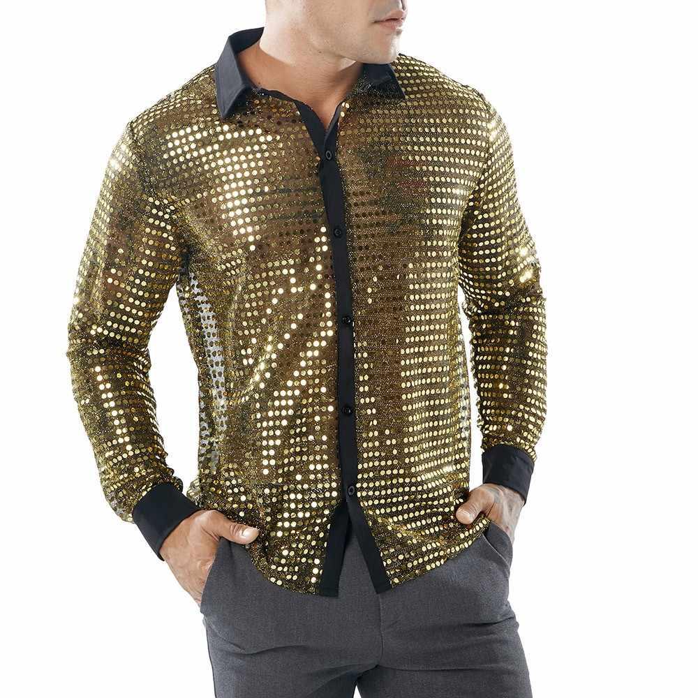 Mannen Sequin Glitter Shirts Verfraaid Transparant Shirt Mannen Sexy See Through Shirt Voor Mannelijke Nachtclub Podium Prom Dans Chemise