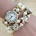 Nueva Moda de Lujo de La Perla Pulsera de Cuarzo Relojes de Las Mujeres Rhinestone de Lujo Del Reloj Relojes de Las Mujeres Relogio Feminino Reloj Mujer