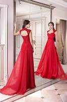 Elegant Appliques Lace Chiffon Long Evening Dress 2015 New Arrival Formal Dresses Sexy Red Sweetheart Summer Women Evening Gowns