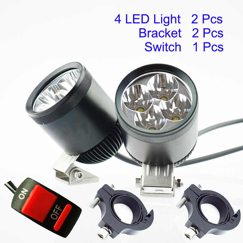 2Pcs Motor Driving Fog Lamp Spot Motorcycle Headlight U2 LED Chip 12V 40W Bicycle Auxiliary Spotlight 6000K Head Light Headlamp