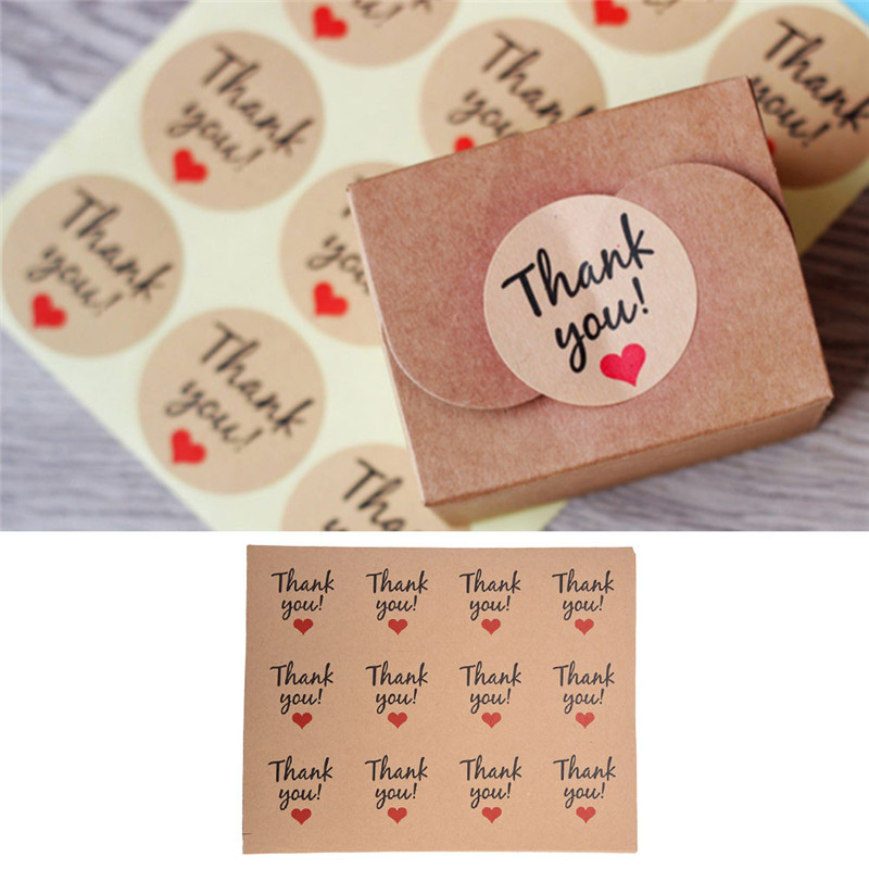 120Pcs Candy paper tags/Thank You love self-adhesive stickers kraft label sticker For DIY Hand Made Gift Cake Party supplies