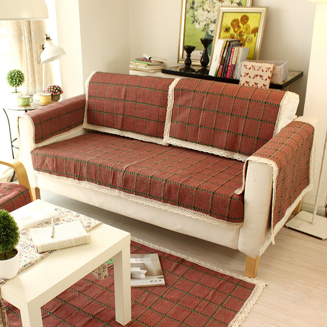 Wliarleo Weave Sofa Cover High Quality Towel Red Plaid Covers For Couch Slip Resistant