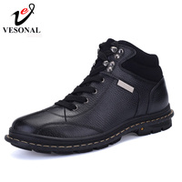 VESONAL Winter Fur Warm Work Safety Men Boots Male Shoes Ankle Casual Brand Quality Genuine Leather