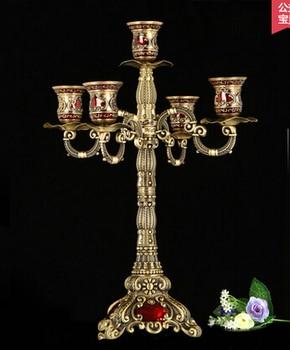 H 41cm rare metal 5-branch bronze candelabra candlesticks candelabrum candle holder set antique home decor candelabra  ZT012