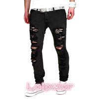 Laipelar 2018 New Black Ripped Jeans Men With Holes Denim Super Skinny Brand Slim Fit Jean Pants Scratched Biker Cool Jeans 2XL