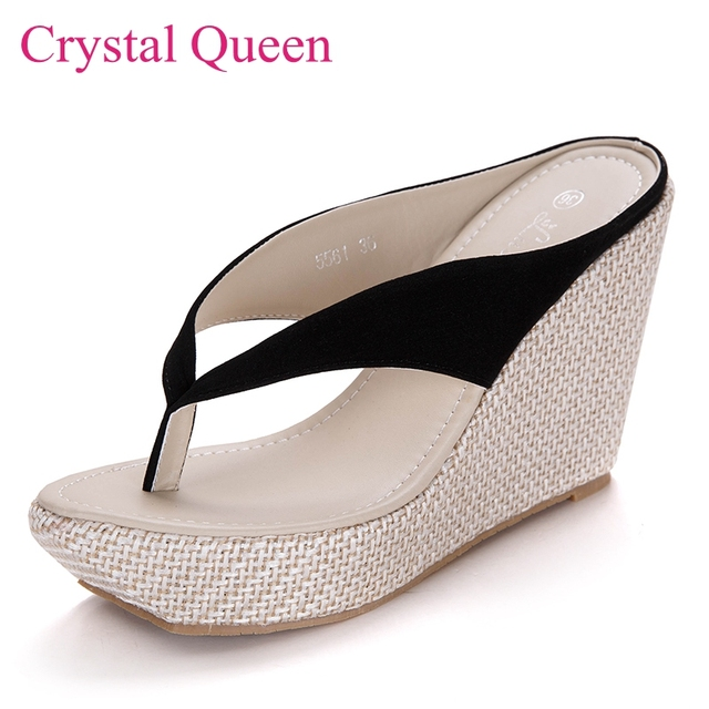 e764bb181278c4 Sweet beach flip flops platform wedges sandals slippers high-heeled sandals  wedges female sandals flip flops women shoes sandals