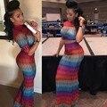 Африканские платья для женщин 2016 2 шт. мода половина рукава красочные длинные летние топы и юбки мода повседневная халат платье 0088