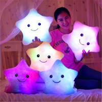 1Pcs Fashion Colorful Star Smile Face Glow LED Luminous Light Pillow Cushion Loving Heart Bear Paw