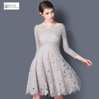 2017 Latest Women Sexy Slash Neck Spring Lace Dresses Ladies Grey Hollow Out Three Quarter Sleeve