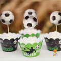 24 unids Kids birthday Party Decoration Cupcake Wrappers Favores Cupcake Toppers Selecciones de fútbol Fútboles AW-0023