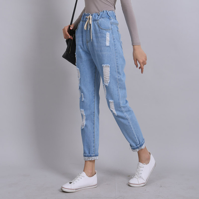 fed2575b1 Yichaoyiliang 2017 Verano Ripped Boyfriend Jeans para Mujeres Mezclilla  Pantalones Harén Alta Cintura Lamentando Sueltos Pantalones Largos ...