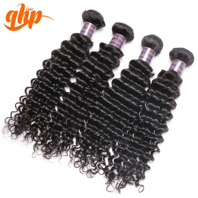 Qhp Hair 7A en Bruto Brasileño de la Virgen Del Pelo de la Onda Profunda Weave Bundle 4 unids Bundle Deal 100% Extensión Del Pelo Humano Libre gratis