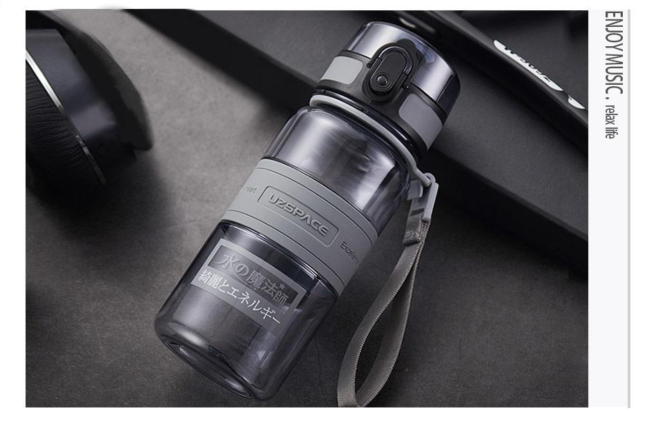 Water Bottle 500/1000ml BPA Free Popular Gray Men Outdoor Sport Travel shaker Drink My Bottle Leakproof Plastic Fruit Tea Bottle