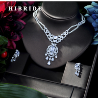HIBRIDE Fashion CZ Stone Jewelry Sets for Women , Pearl Wedding Necklace and Earrings Pearl in Jewelry Set