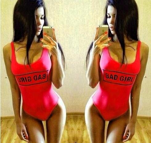 One-piece BAD GIRL Women Sexy High Waist Swimsuits Jumpsuit Swimwear Bodysuit Bathing Suit Backless  Suit Beachwear