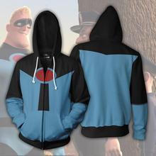 Суперсемейка 2 толстовки для взрослых мультфильм толстовка с 3D принтом на молнии маскарадный костюм для хелоуина костюм