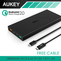 Aukey 16000 mAh Power  QC 2.0 External Battery with 2 USB-ports Power Bank for Samsung Galaxy S6/S6 Edge/Edge+, Note 5, Note 4